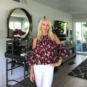 CINQ A SEPT BURGUNDY FLORAL TOP